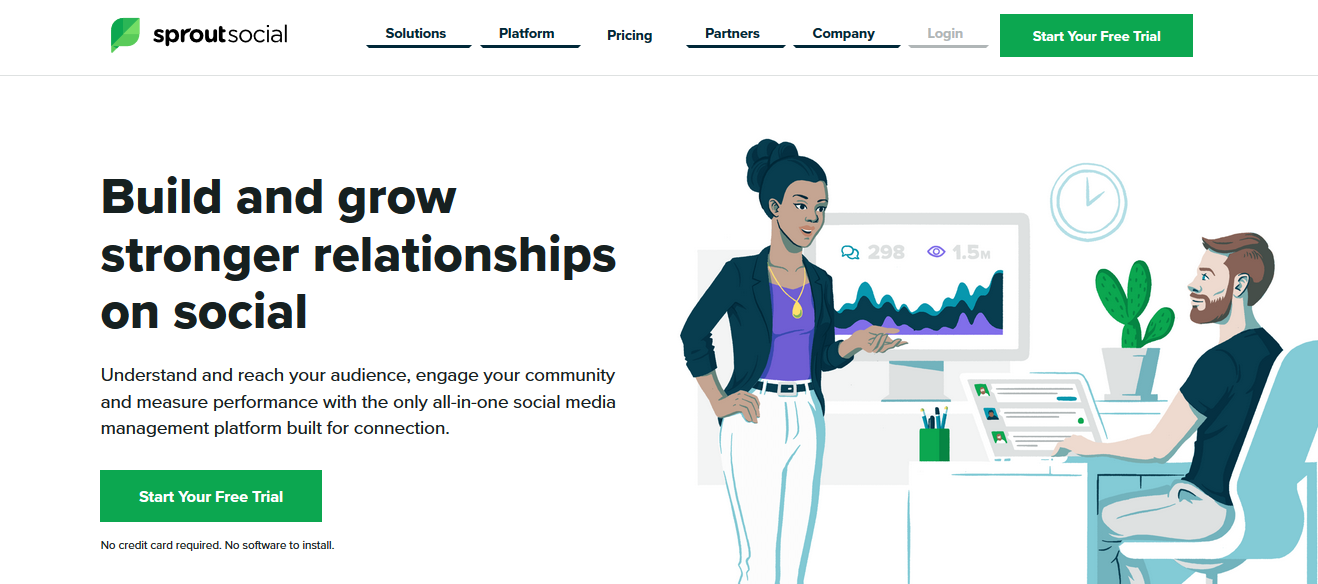 This is Sprout Social's homepage.