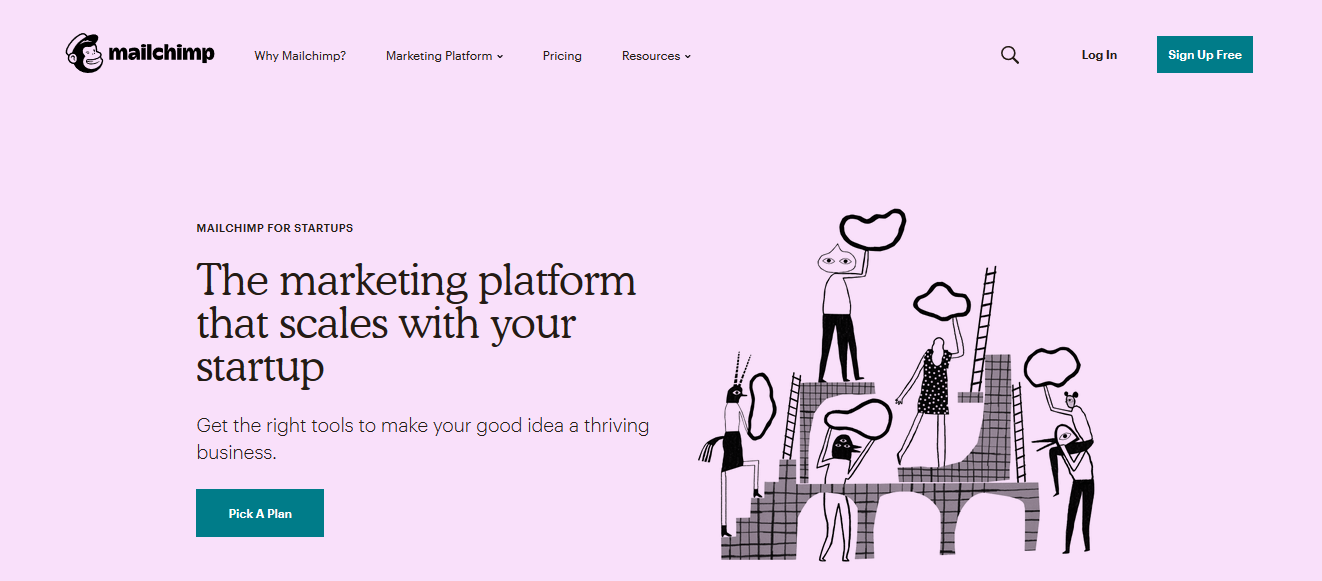 This is MailChimp's homepage.