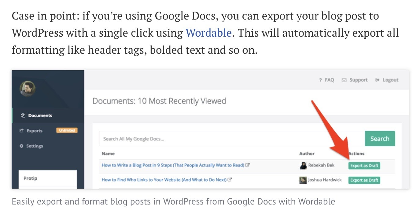 This is where you could export content from Google Doc to WordPress via Wordable.