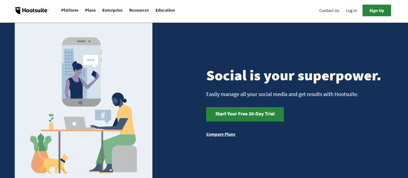 This is Hootsuite's homepage.