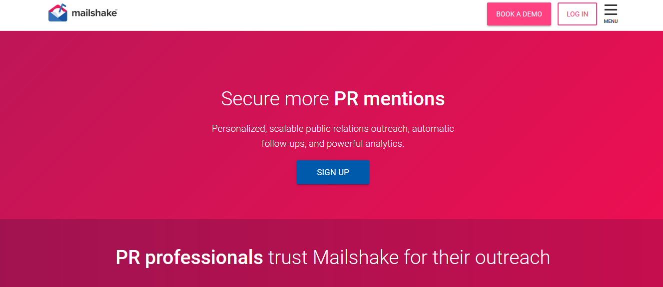 This is Mailshake's homepage.
