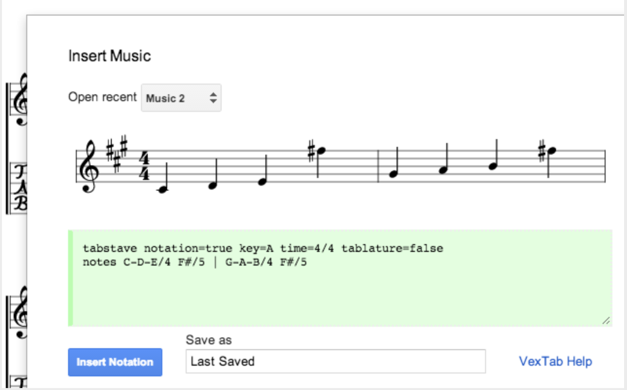 VexTab Music Notation add on