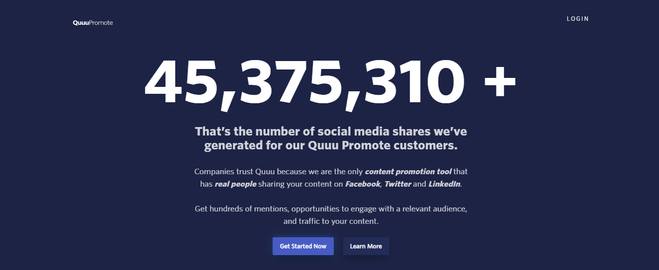 This is Quuu Promote's homepage.
