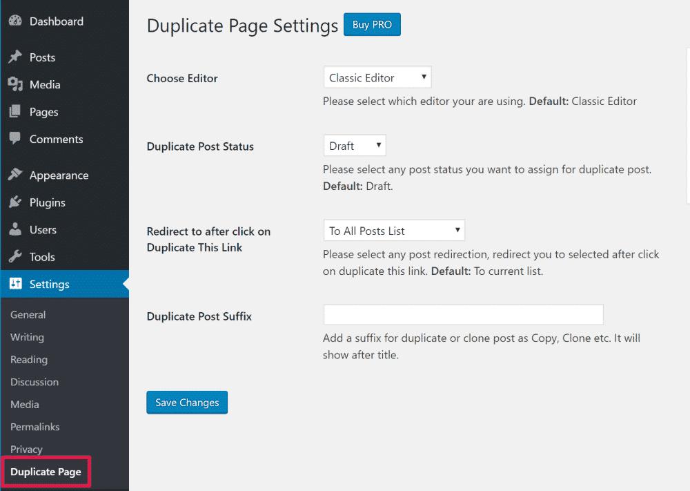 Duplicate page settings