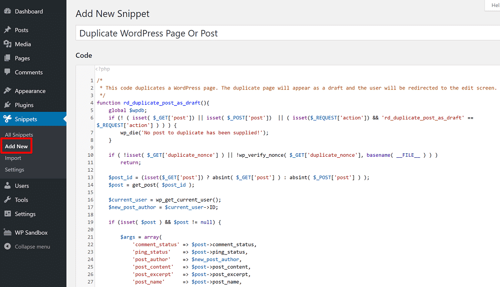 Code Snippets interface