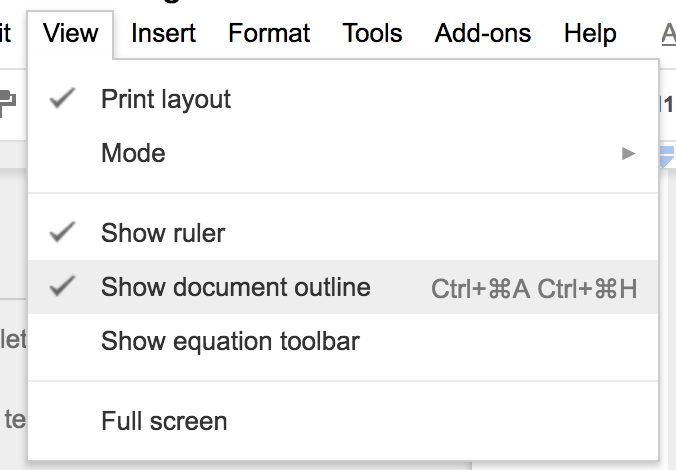 This is where you could create or show the outline of a document.