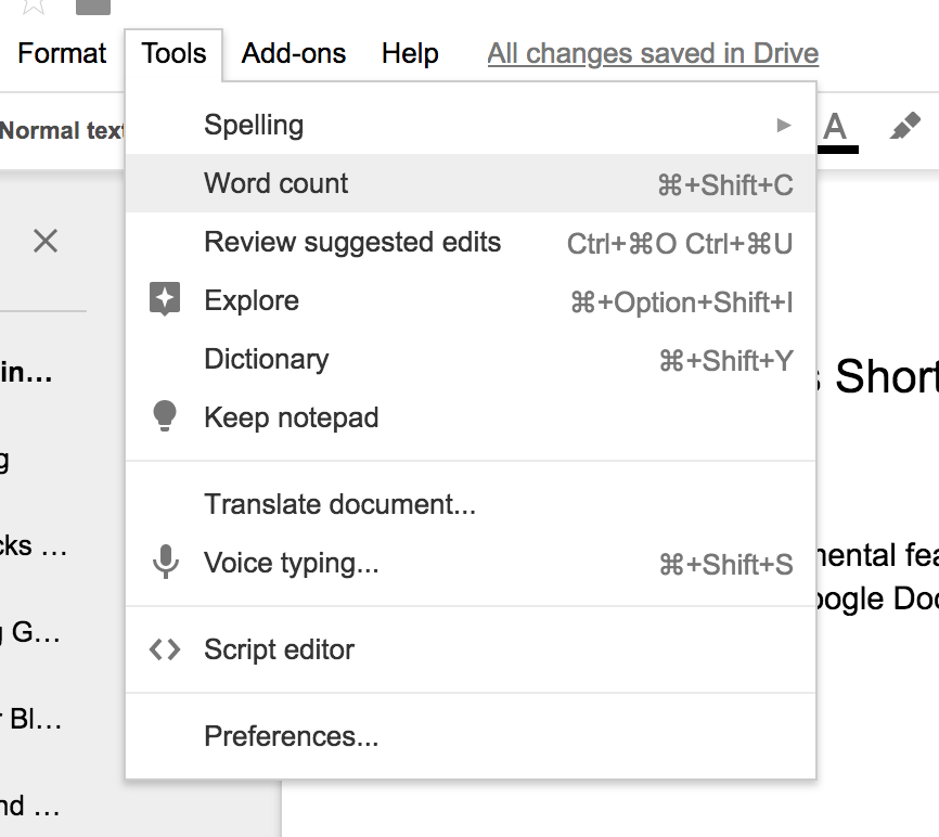 """The """"Word count"""" feature is located under the """"Tools"""" option."""