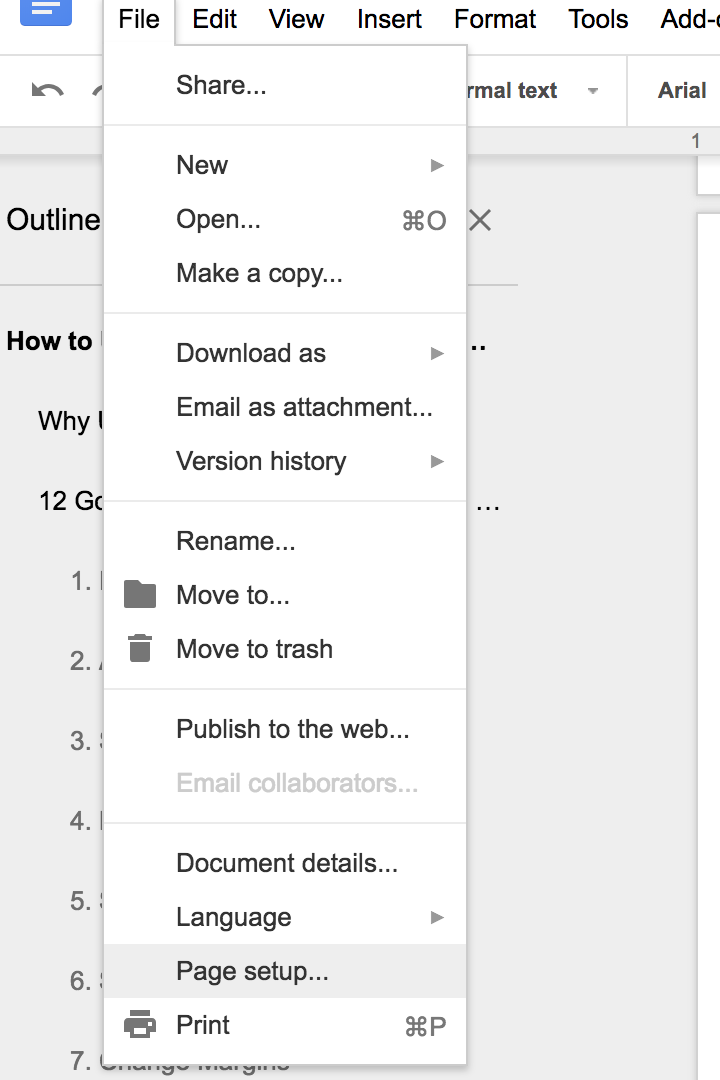 If you want an exact specification, you may use the Page Setup option.
