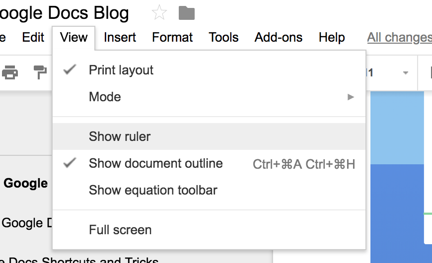 This is where you can find the option to make the ruler visible on your document.