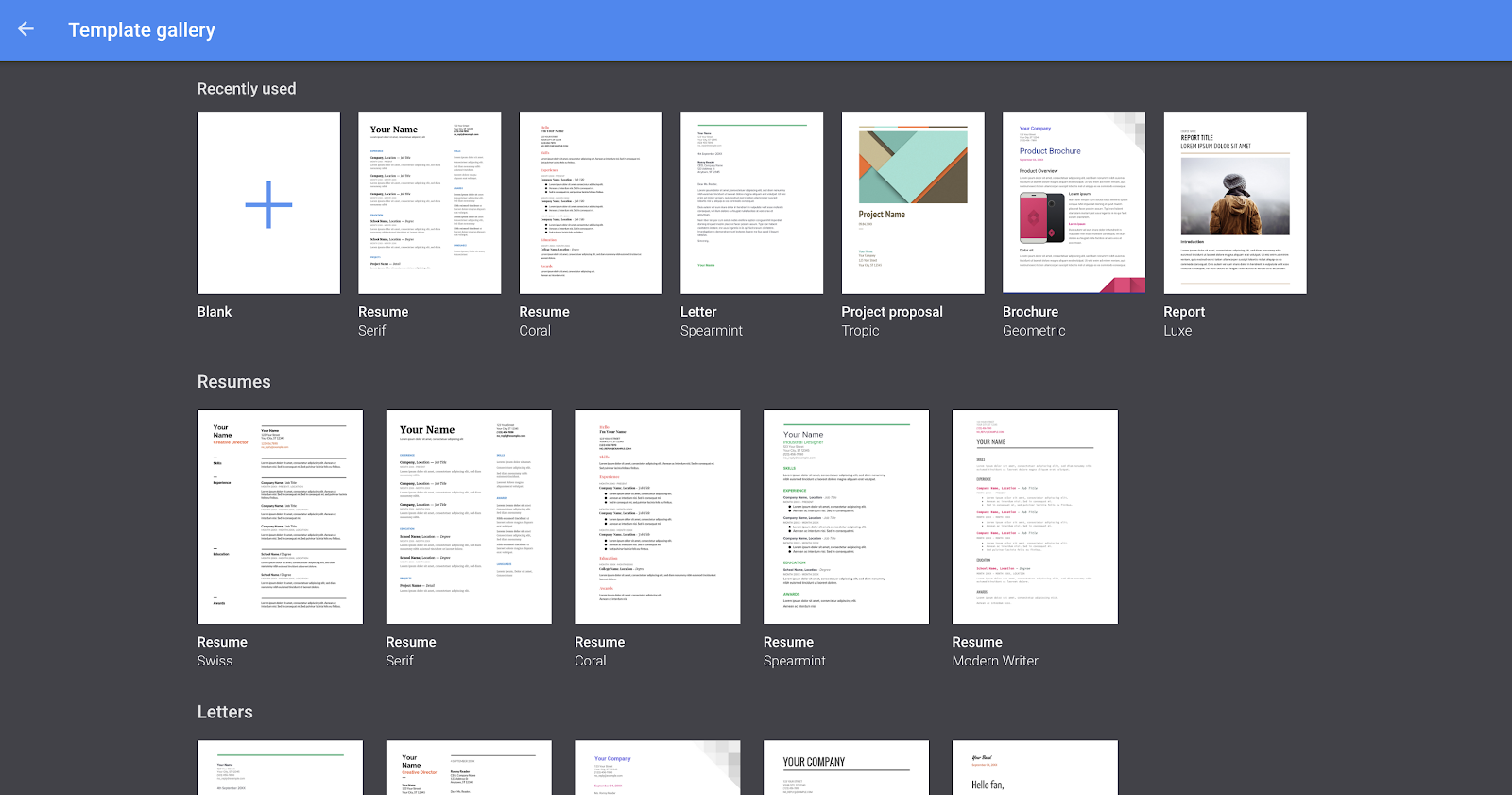 Here is where you could see the available templates that Google Docs offer.