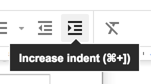 The Indent option can also be found on the toolbar.