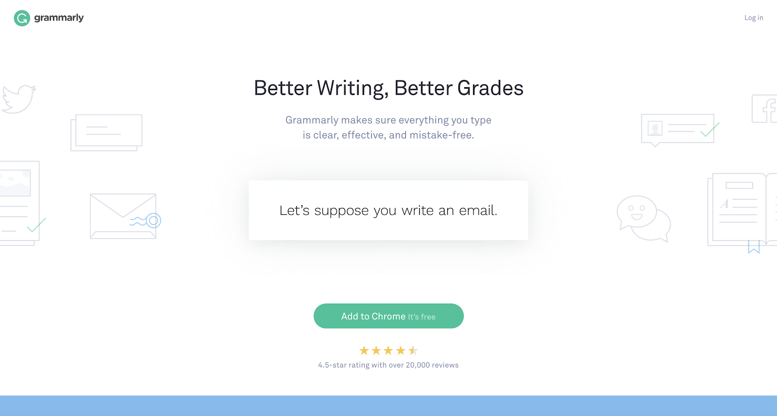 This is Grammarly's homepage.