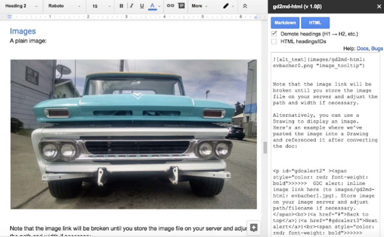 Gd2md-html add-on