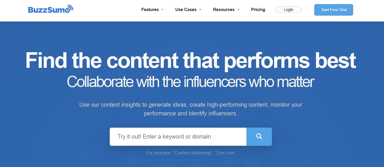 This is Buzzsumo's homepage.
