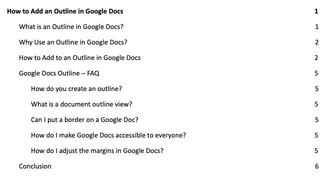 add to outline in Google docs sample outline