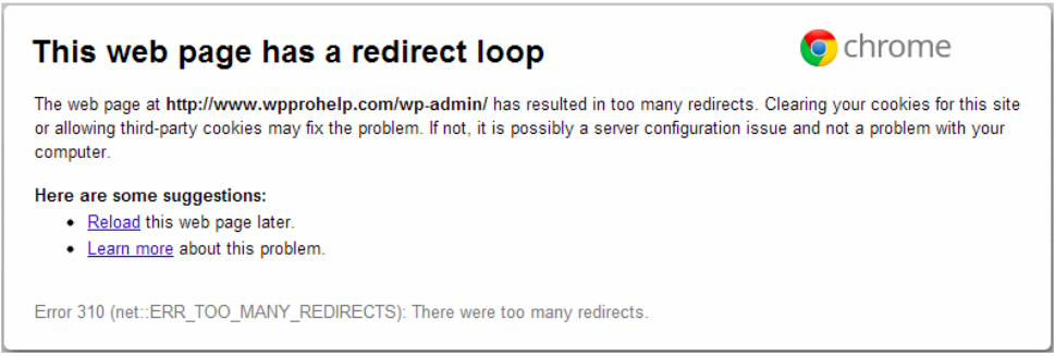 This is what will show if you get the redirect loop error.