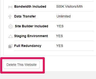 delete site option