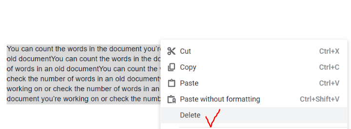 delete text