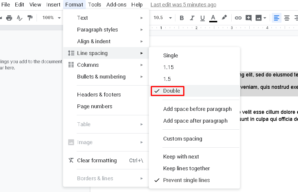 You can also find the option to apply the double spacing from the Format tab.