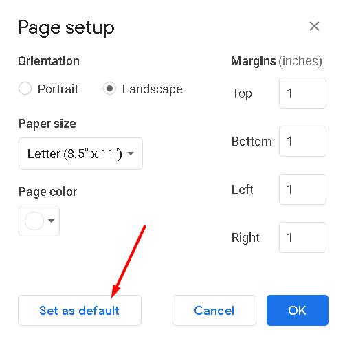 set landscape to default