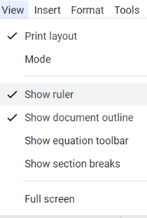 The option to show the ruler can be found under the View tab.