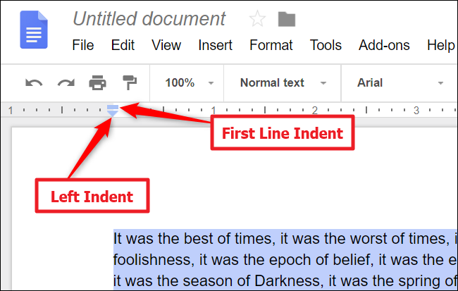 You can drag the buttons depending on how much space you want to indent.
