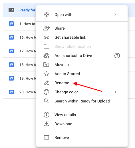 Rename is one of the options listed when you right-click on a folder.