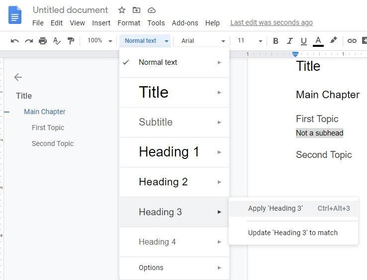 add to outline in Google docs manually add heading