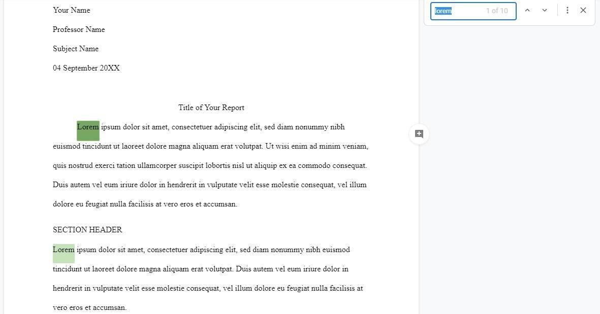 Google Docs word search Find keyboard shortcut