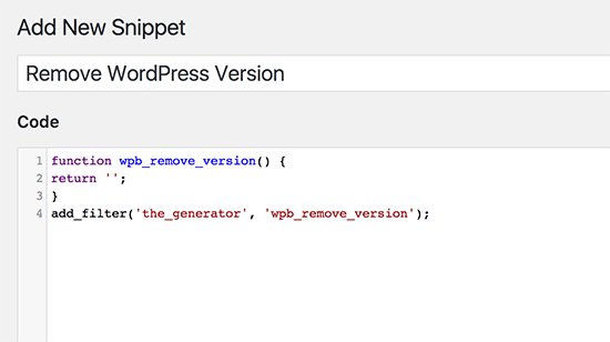 example of a code snippet on WordPress