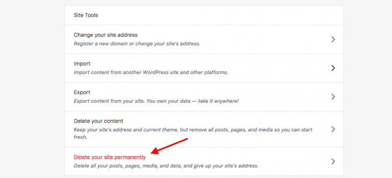 delete site permanently