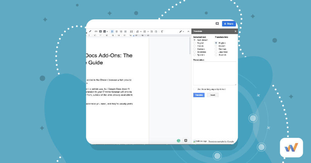 Add on appears in google docs