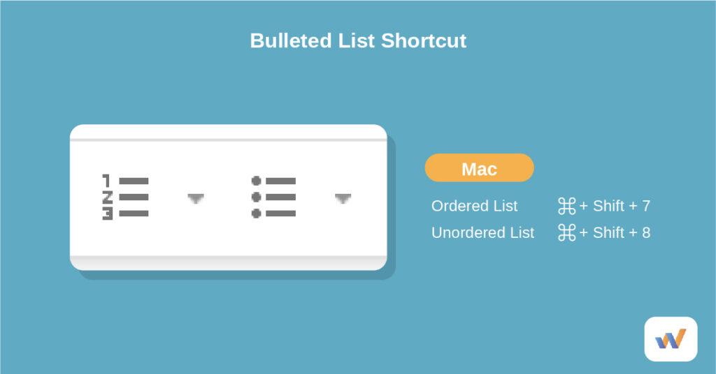 create a bulleted list