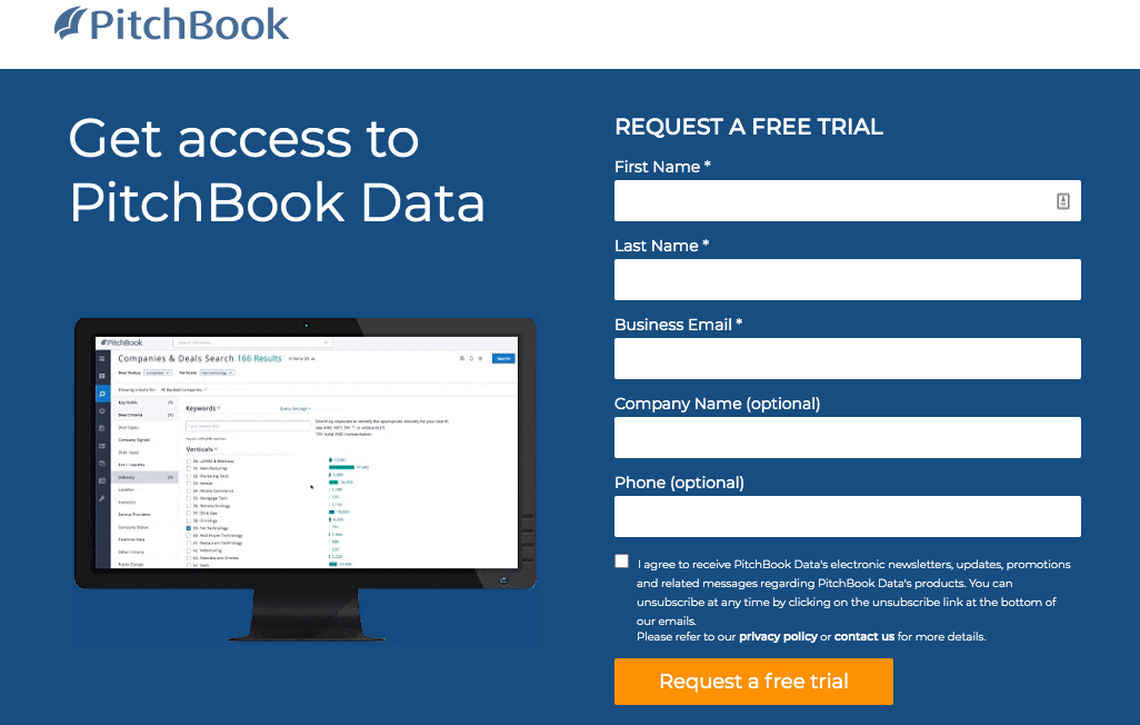 pitchbook homepage screenshot