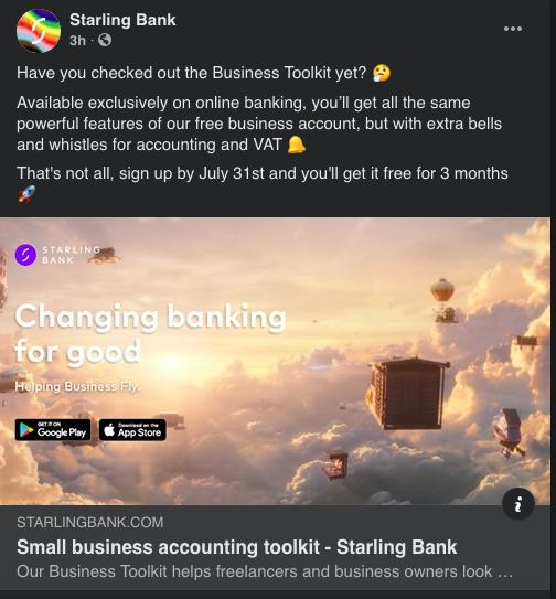screenshot of starlingbank page