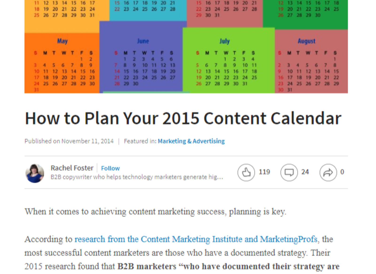 screenshot of content calendar