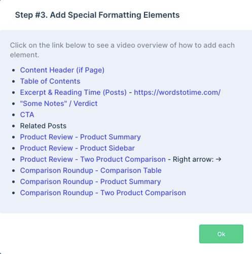 special formatting elements