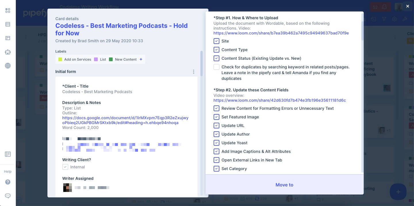 screenshot of details from Pipefy