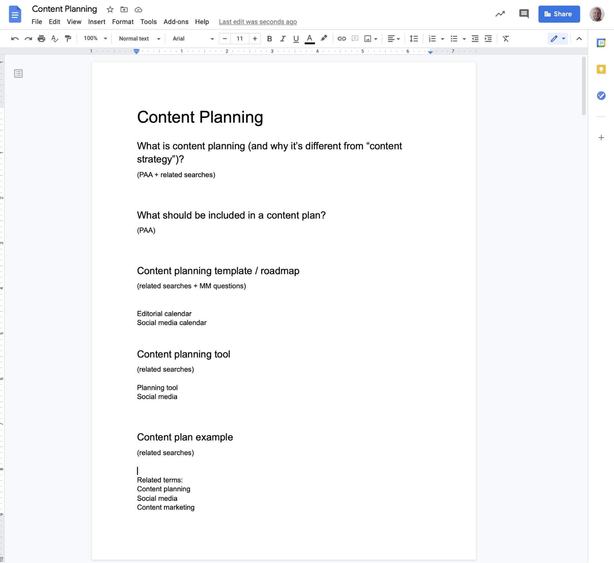 sample content outline