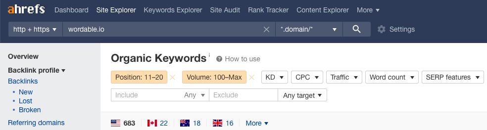 ahrefs organic keywords search