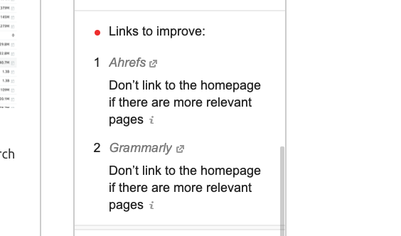 SEO Writing Assistant's blogging tool offers suggestions for link improvement.
