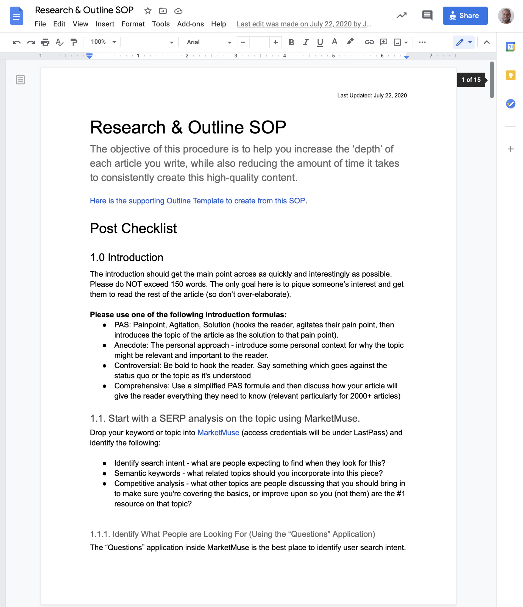 research and outline SOP