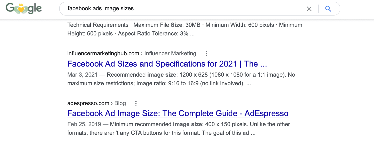 Google search for Facebook Ads images sizes to show search intent as an SEO tactic