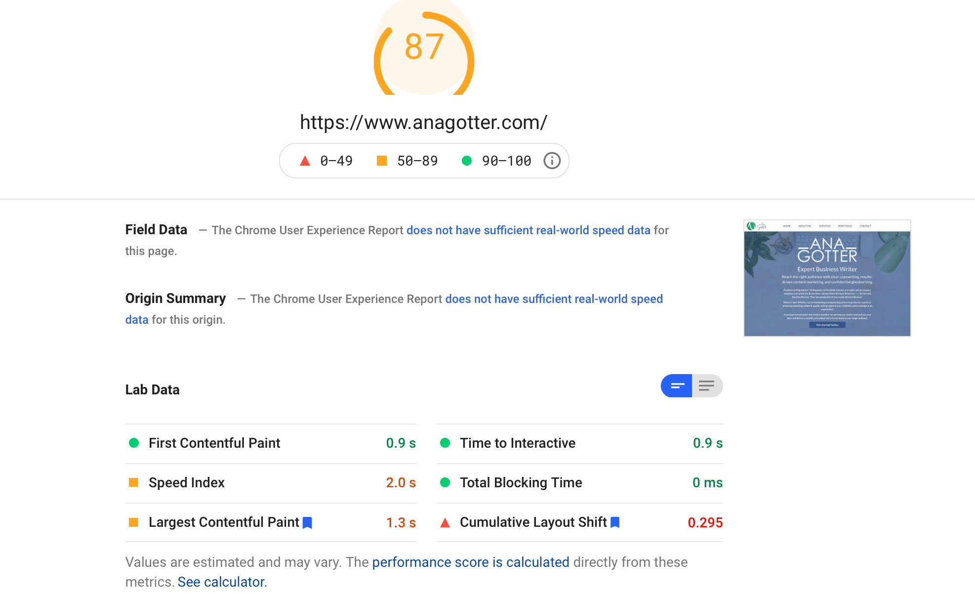 Google's PageSpeed Insights tool showing site loading metrics.