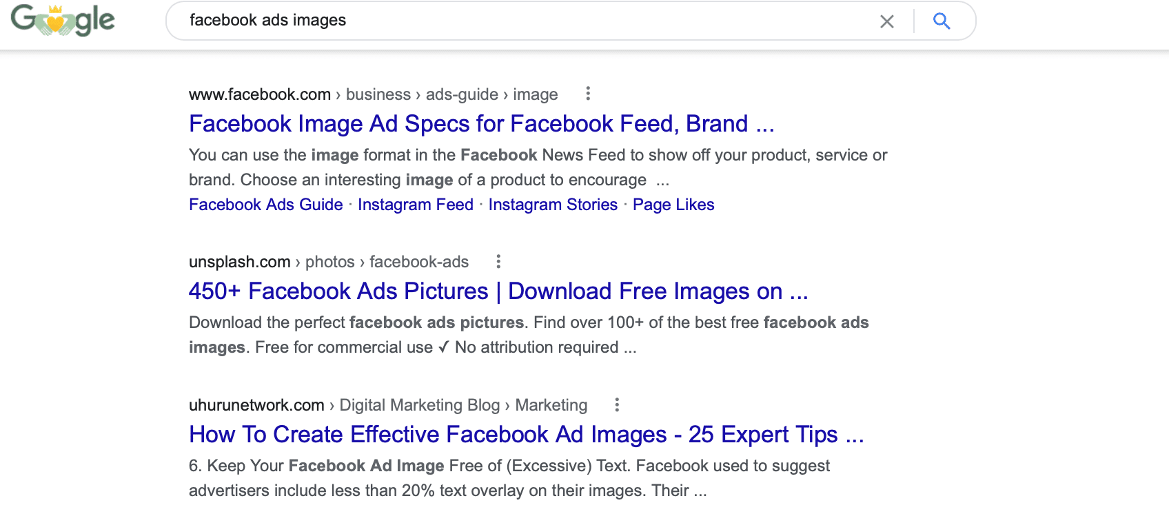 Google search for Facebook ad images
