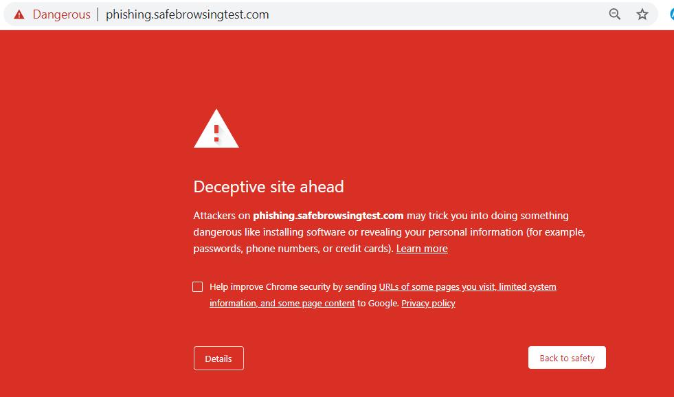 screenshot of sample malware detection