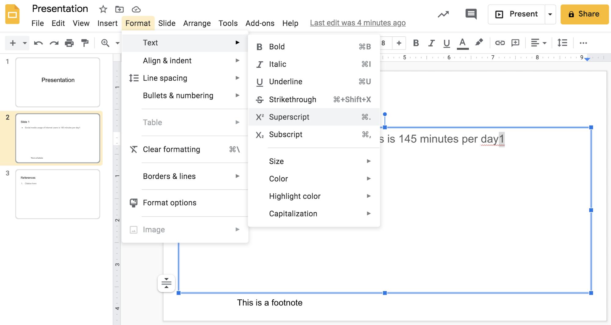 Insert a superscript number in Google Slides