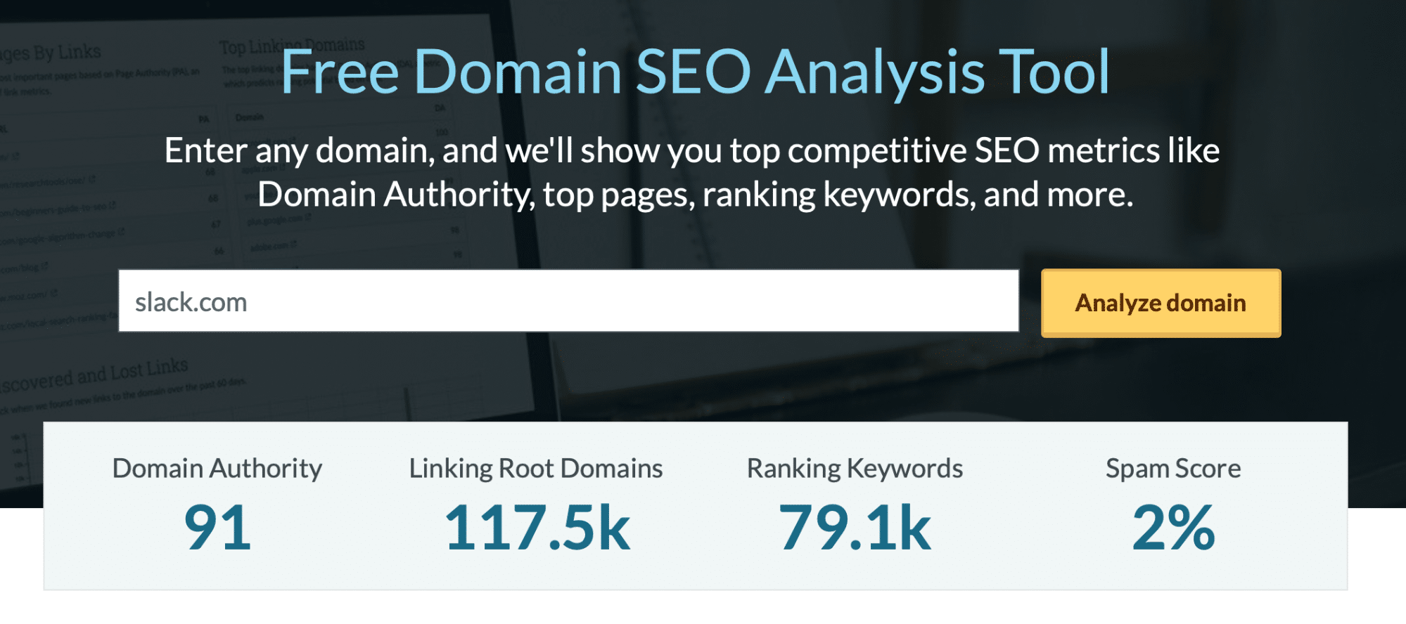 Moz's domain authority tool showing Slack with a high authority score.