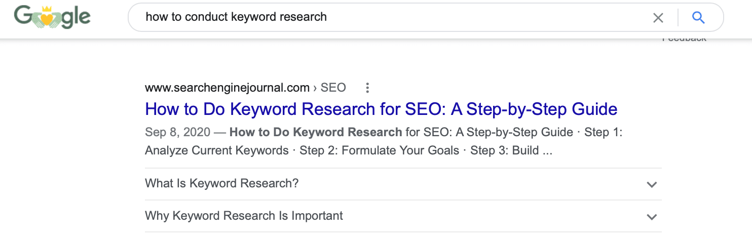 """Google search results for the search """"how to conduct keyword research"""""""