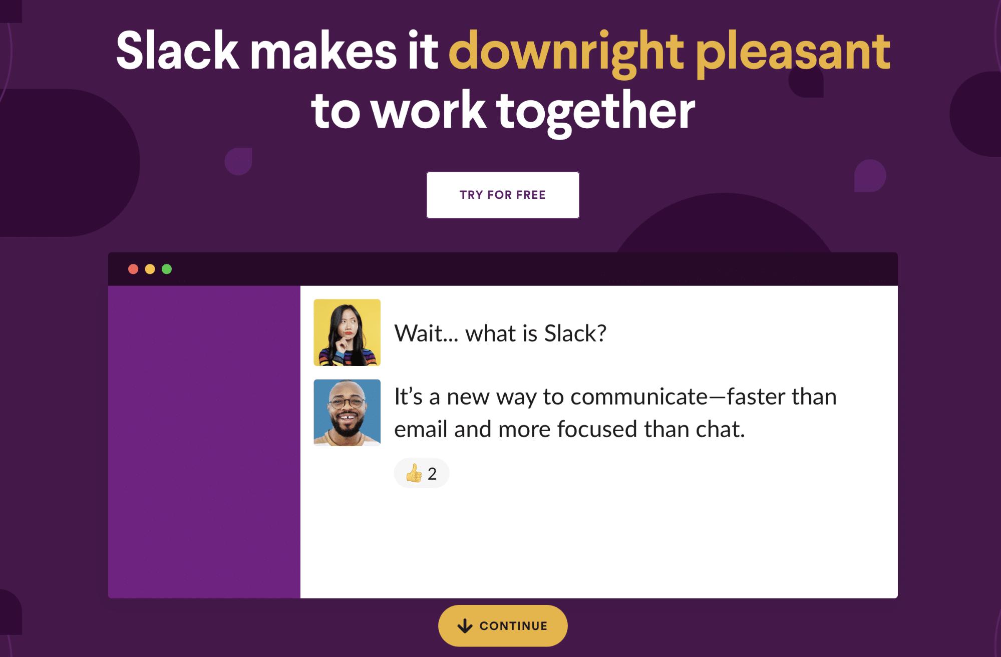 Screenshot of Slack homepage
